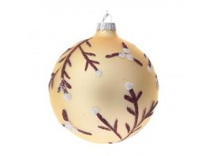 Set 4 τμχ. Γυάλινη Χρυσή Χριστουγεννιάτικη Μπάλα με Κλαδιά 10 εκ.