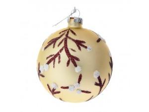 Set 6 τμχ. Γυάλινη Χρυσή Χριστουγεννιάτικη Μπάλα με Κλαδιά 8 εκ.
