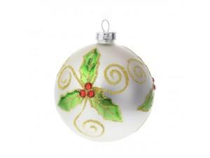 Γυάλινη Άσπρη Χριστουγεννιάτικη Μπάλα με Γκυ και Berries 8 εκ.