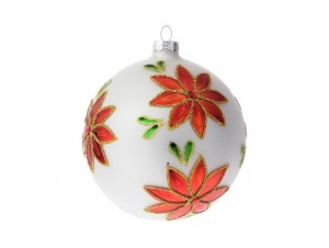 Γυάλινη Άσπρη Χριστουγεννιάτικη Μπάλα με Αλεξανδρινά 10 εκ.