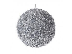 Ασημί Χριστουγεννιάτικη Μπάλα με Στρας 8 εκ.