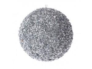 Ασημί Χριστουγεννιάτικη Μπάλα με Στρας 10 εκ.