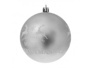 Ασημί Ματ Χριστουγεννιάτικη Μπάλα με Ελάφια και ευχή 8 εκ.