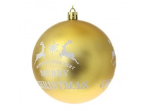 Χρυσή Ματ Χριστουγεννιάτικη Μπάλα με Ελάφια και ευχή 8 εκ.