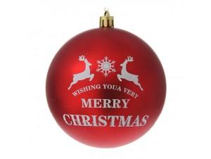 Κόκκινη Ματ Χριστουγεννιάτικη Μπάλα με Ελάφια και ευχή 10 εκ.
