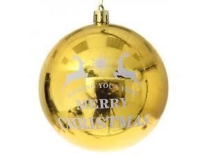 Χρυσή Γυαλιστερή Χριστουγεννιάτικη Μπάλα με Ελάφια και ευχή 10 εκ.