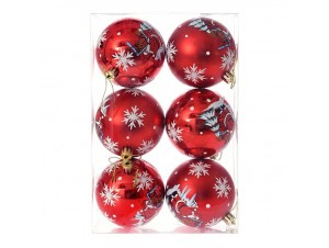 Set 6 τμχ. Κόκκινη Χριστουγεννιάτικη Μπάλα με Αι-Βασίλη 8 εκ.