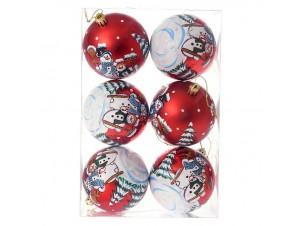Set 6 τμχ. Κόκκινη Χριστουγεννιάτικη Μπάλα με Χιονάνθρωπο 8 εκ.