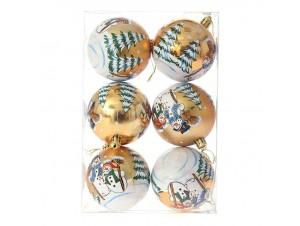 Set 6 τμχ. Χρυσή Χριστουγεννιάτικη Μπάλα με Χιονάνθρωπο 8 εκ.
