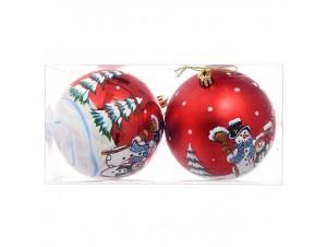 Set 4 τμχ. Κόκκινη Χριστουγεννιάτικη Μπάλα με Χιονάνθρωπο 10 εκ.