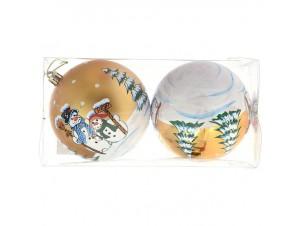 Set 4 τμχ. Χρυσή Χριστουγεννιάτικη Μπάλα με Χιονάνθρωπο 10 εκ.