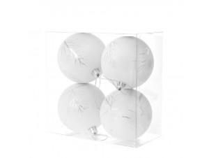 Set 4 τμχ. Λευκή Χριστουγεννιάτικη Μπάλα με Δέντρο 10 εκ.