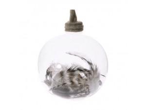 Διάφανη γυάλινη Χριστουγιεννιάτικη Μπάλα με Φτερά 12 εκ.