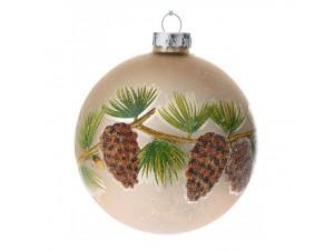 Χρυσή Γυάλινη Χριστουγεννιάτικη Μπάλα με κουκουνάρια 8 εκ.