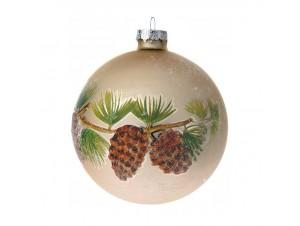 Χρυσή Γυάλινη Χριστουγεννιάτικη Μπάλα με κουκουνάρια 10 εκ.