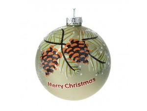 Πράσινη Γυάλινη Χριστουγεννιάτικη Μπάλα με κουκουνάρια και ευχή 8 εκ.