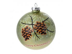 Πράσινη Γυάλινη Χριστουγεννιάτικη Μπάλα με κουκουνάρια 10 εκ.