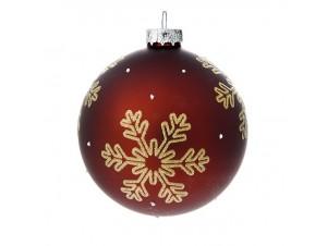 Γυάλινη Μπορντώ Χριστουγεννιάτικη Μπάλα με Νιφάδες 8 εκ.