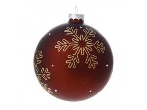 Γυάλινη Μπορντό Χριστουγεννιάτικη Μπάλα με Νιφάδες 10 εκ.