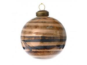 Καφέ Γυάλινη Χριστουγεννιάτικη Μπάλα με νερά 8 εκ.