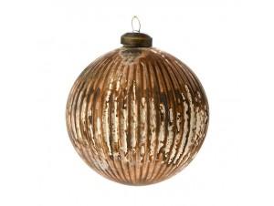 Καφέ Γυάλινη Χριστουγεννιάτικη Μπάλα με Ρίγες 10 εκ.