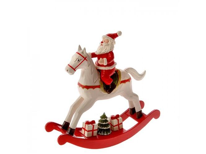 Ξύλινο Χριστουγεννιάτικο Αλογάκι Αϊ-Βασίλης 23 x 22 εκ.