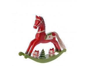 Ξύλινο Χριστουγεννιάτικο Αλογάκι με δώρα 28 x 25 εκ.
