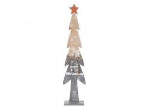 Ξύλινο Χριστουγεννιάτικο Διακοσμητικό Δέντρο Καφέ Γκρι 61 εκ.