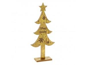 Χρυσό Ξύλινο Χριστουγεννιάτικο Διακοσμητικό Δέντρο με Ευχή 22 x 50 εκ.