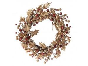 Χρυσό Χριστουγεννιάτικο στεφάνι με Μπρονζέ Μπιλάκια 45 εκ.