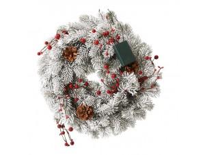 Χιονισμένο Χριστουγεννιάτικο στεφάνι με Κουκουνάρια,Berries και Λαμπάκι 40 εκ.