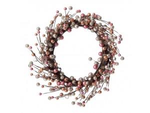Χριστουγεννιάτικο στεφάνι με Ροζ - Χρυσά - Ασημί Berries 35 εκ.