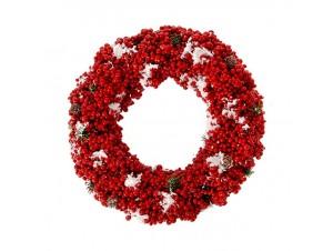 Κόκκινο Χριστουγεννιάτικο στεφάνι με Berries 32 εκ.