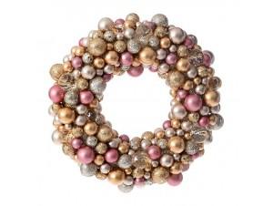 Ροζ - Χρυσό Χριστουγεννιάτικο στεφάνι με Berries 25 εκ.