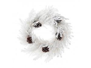 Χιονισμένο Χριστουγεννιάτικο στεφάνι με Κουκουνάρια 70 εκ.