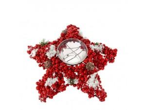 Κόκκινο Χριστουγεννιάτικo διακοσμητικό Κηροπήγιο με Berries 15 x 15 εκ.