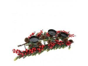 Χριστουγεννιάτικo διακοσμητικό Κηροπήγιο με Γκυ και Κουκουνάρια 60 εκ.