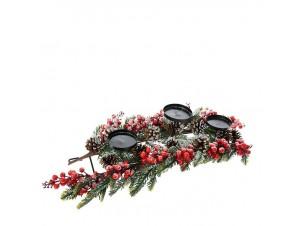 Χιονισμένο Χριστουγεννιάτικo διακοσμητικό Κηροπήγιο Γκυ και Κουκουνάρια 60 εκ.