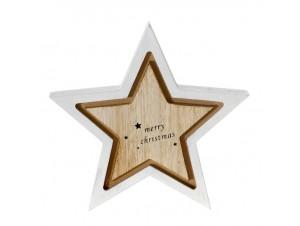 Λευκό Χριστουγεννιάτικο διακοσμητικό ξύλινο Αστέρι 16 x 16 εκ.