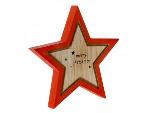 Κόκκινο Χριστουγεννιάτικο διακοσμητικό ξύλινο Αστέρι 22 x 22 εκ.