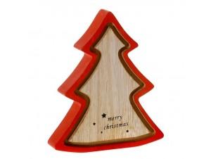 Κόκκινο Χριστουγεννιάτικο διακοσμητικό ξύλινο Δέντρο 16 x 16 εκ.
