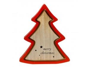 Κόκκινο Χριστουγεννιάτικο διακοσμητικό ξύλινο Δέντρο 22 x 22 εκ.