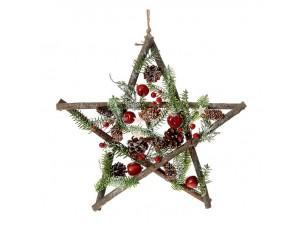 Ξύλινο Χριστουγεννιάτικο Κρεμαστό Αστέρι με Κουκουνάρια 40 εκ.