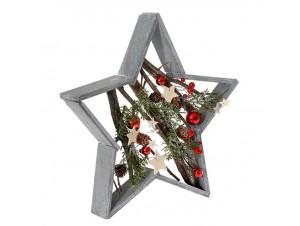 Ξύλινο Χριστουγεννιάτικο Διακοσμητικό Αστέρι σε Πλαίσιο 39 εκ.