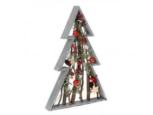 Ξύλινο Χριστουγεννιάτικο Διακοσμητικό Δέντρο σε Πλαίσιο 50 εκ.