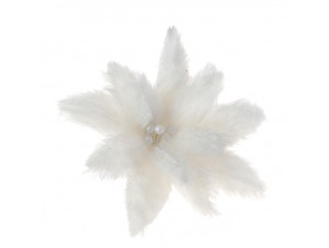 Γούνινο Χριστουγεννιάτικο Λουλούδι Διακόσμησης με Κλιπ 22 εκ.