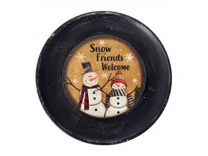 Ξύλινη Χριστουγεννιάτικη Πιατέλα με Χιονάνθρωπο 40 εκ.