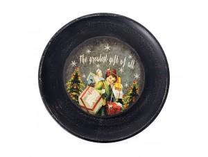 Ξύλινη Χριστουγεννιάτικη Πιατέλα με Δώρα 40 εκ.