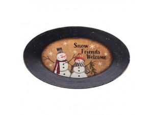 Ξύλινη Χριστουγεννιάτικη Πιατέλα με Χιονάνθρωπο 24 x 37 εκ.