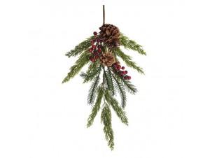 Χριστουγεννιάτικο Κλαδί Διακόσμησης με Berries και Κουκουνάρια 60 εκ.